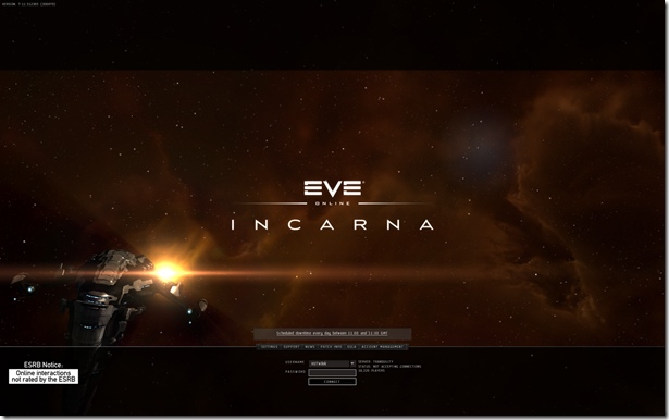 Eve Login Screen